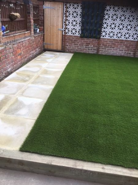 Astro Turf (artificial grass) and slabs, Hucknall, Nottingham: Swipe To View More Images
