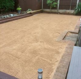 Preparation for laying Astro Turf (artificial grass) in Nuthall, Nottingham: Click Here To View Larger Image