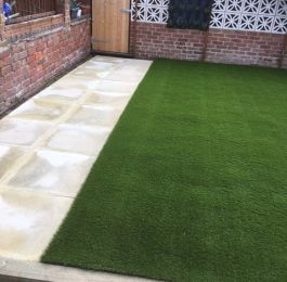 Astro Turf (artificial grass) and slabs, Hucknall, Nottingham: Click Here To View Larger Image